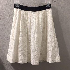 Loft lacy cream skirt